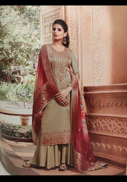 Upada Silk Unstitched Suit Fabric