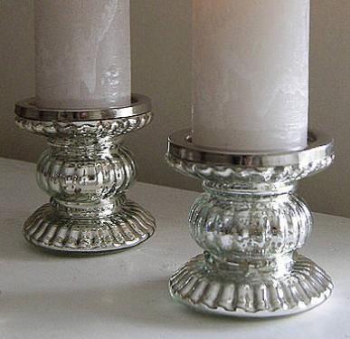 Mercury Glass Pillar Holder