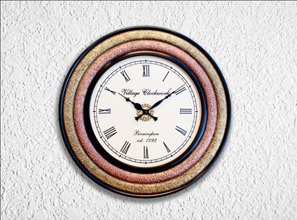 Wooden Brass Copper Wall Clock