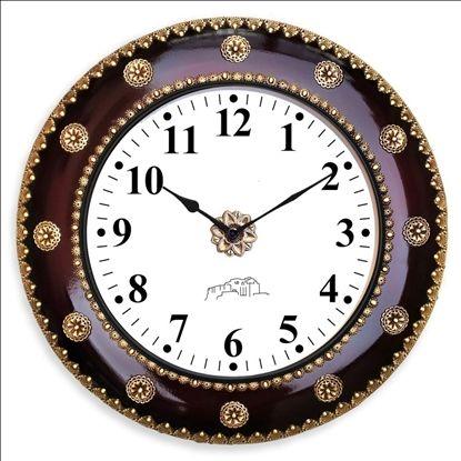 Wooden Polished Metal Wall Clock