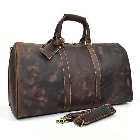 Leather Travel Duffel Luggage Bag