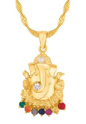 Gold Plated Ganesha Navratna Pendant