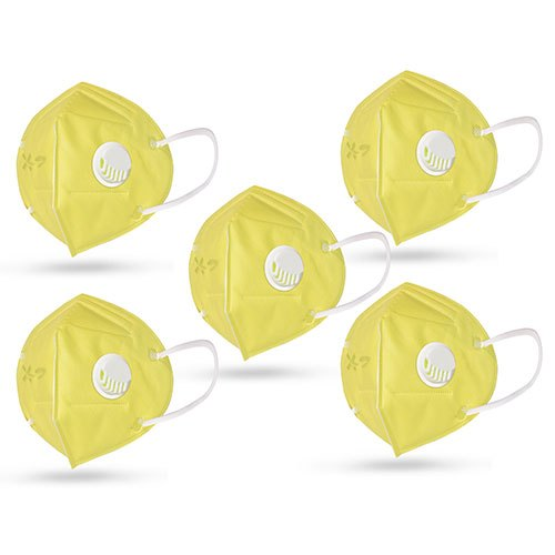 5 Pack Yellow Respirator N95 Face Mask