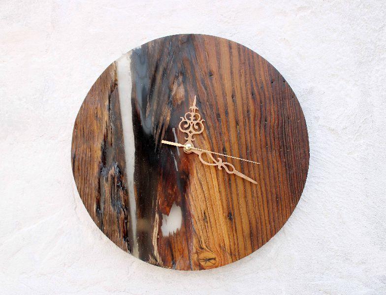 3D Wooden Texture Round Wall Clocks
