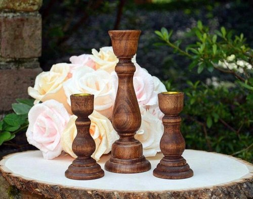 Wooden Candle Stick Holder
