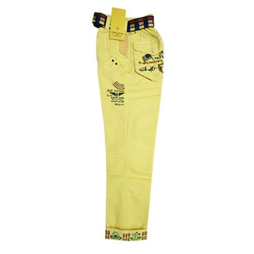 Baby Boys Ligt Yellow Plain Cotton Cargo Pant