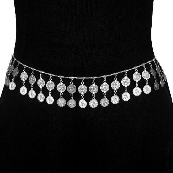 Indian Boho Vintage Oxidized Silver Ethnic Tribal Coin Waist Belt Belly Chain Kamarband Body Jewelry