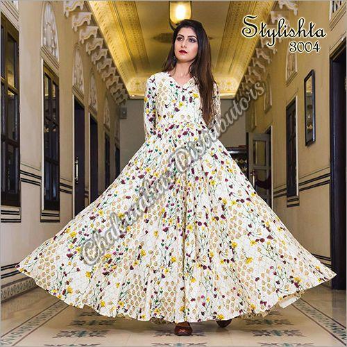 Pure Maslin Digital Print Gown