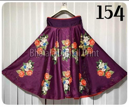 Satin Digital Printed Long Skirt