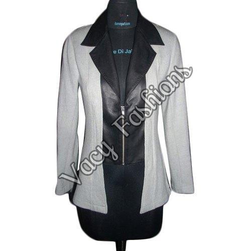Ladies Black & White Wool & Goat Leather Jacket
