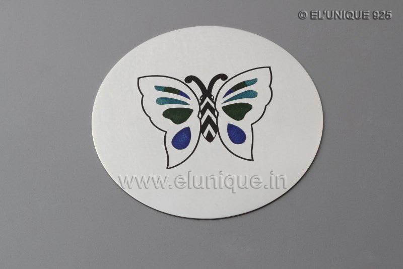 Sterling Silver Enamel Butterfly Coasters
