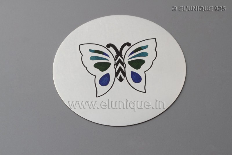 Sterling Silver Enamel Butterfly Coasters (EL BR 010)