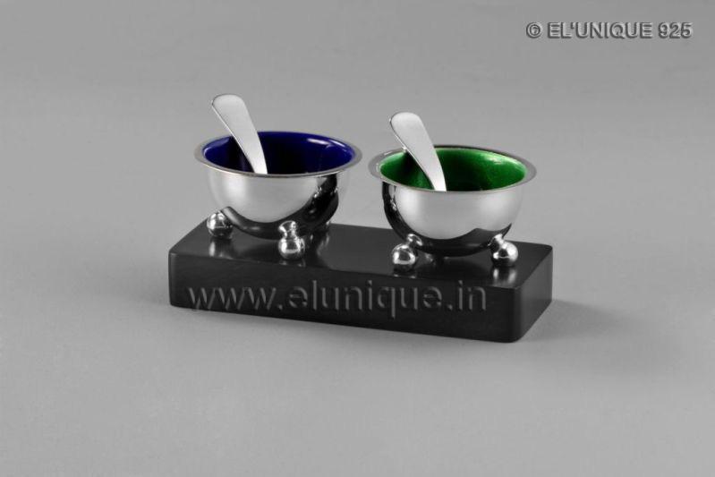 Sterling Silver Salt & Pepper Bowl Set (EL BR 007)