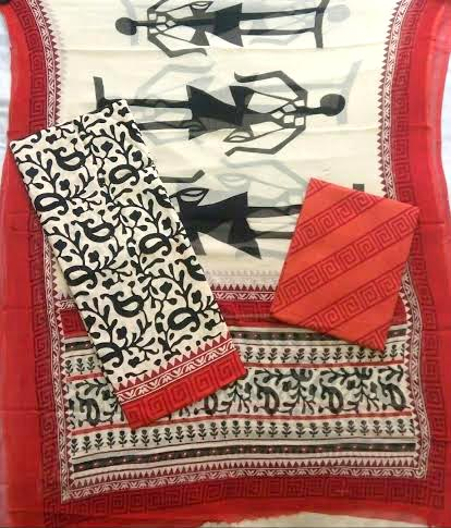 Ladies Embroidered Cotton Suit Fabric
