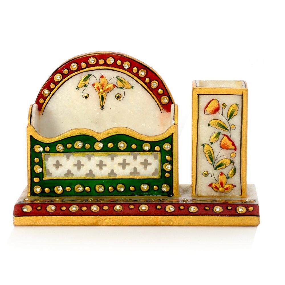 Meenakari marble pen stand n visiting card holder 381 manufacturer meenakari marble pen stand n visiting card holder 381 sr4hcf381 reheart Choice Image