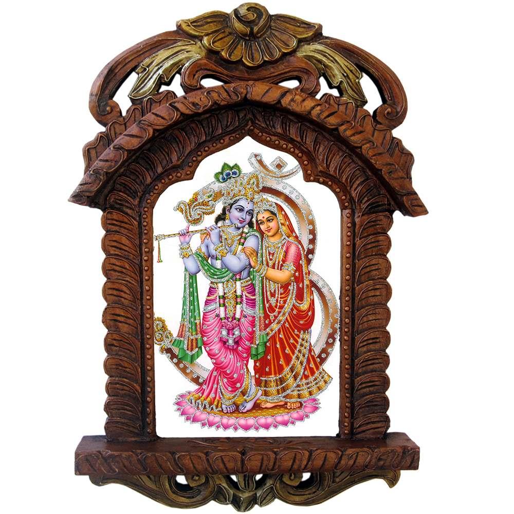 Rajasthani Designer Wooden Radha-Krishna Jharokha 435 (SR4HCF435)