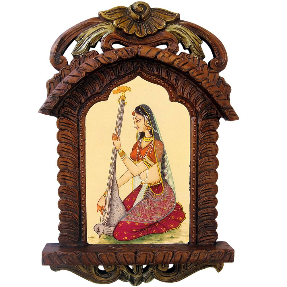 Rajasthani Lady Playing Sitar Wooden Jharokha Gift 438 (SR4HCF438)