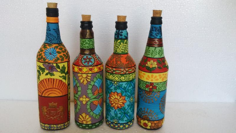 Hand painted glass bottles manufacturer in rajasthan india for Can acrylic paint be used on glass bottles