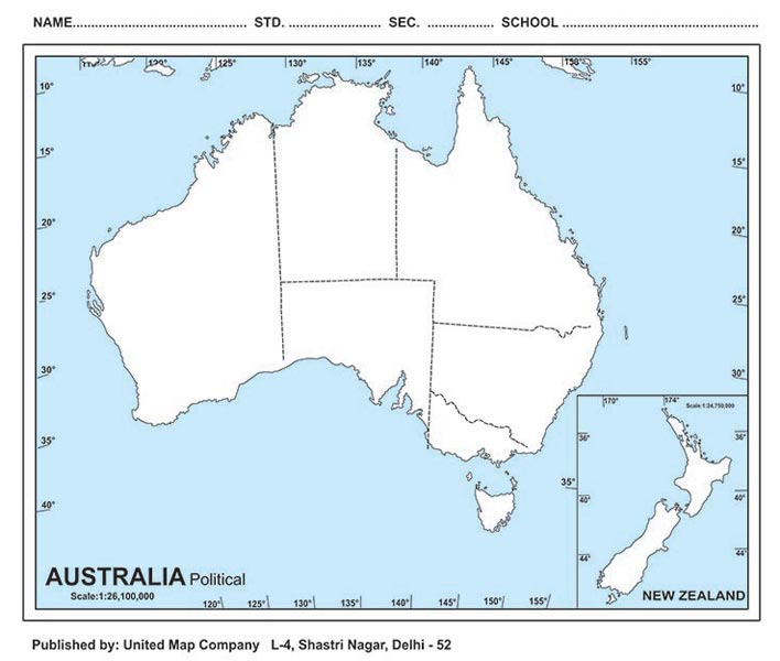 Outline Maps Manufacturer In New Delhi Delhi India By United - Political map of australia