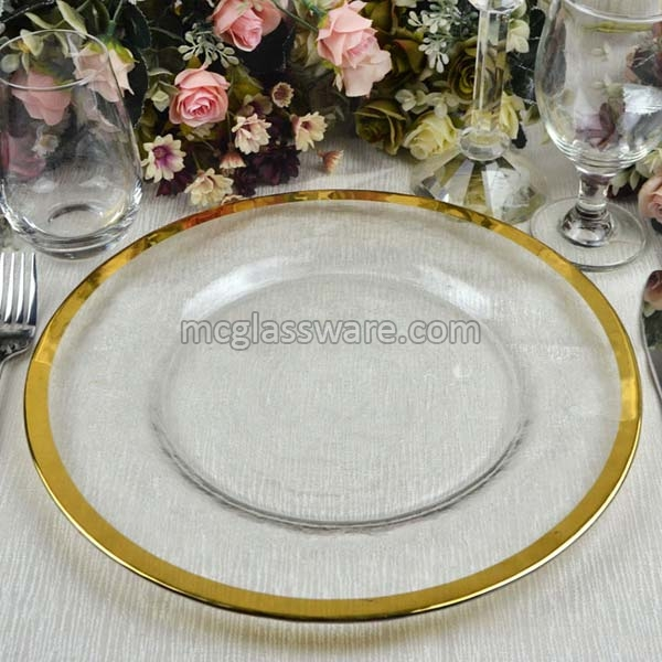Gold Rimmed Clear Glass Charger Plate (GP-0212-Gold)