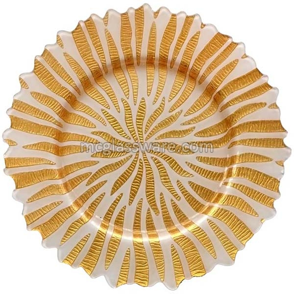 Halley Gold White Glass Charger Plates (GP-0224-Gold)