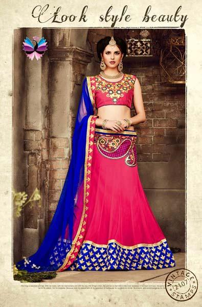 4a26d5a17b0 Gorgeous Royal Pink Blue Net lehenga choli Manufacturer in Gujarat ...