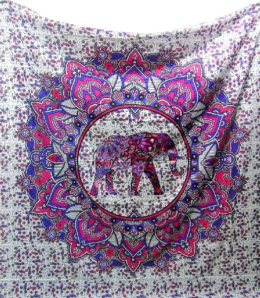 Elephant Indian Mandala Cotton Tapestry Bedspread Wall Hanging (RFT00072)