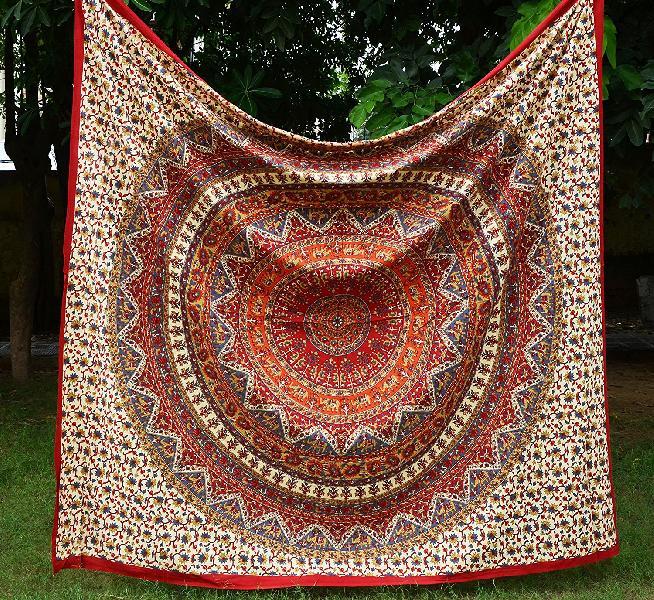 indian Boho Mandala Tapestry Cotton Bedspread Dorm Wall hanging (RFT00018)