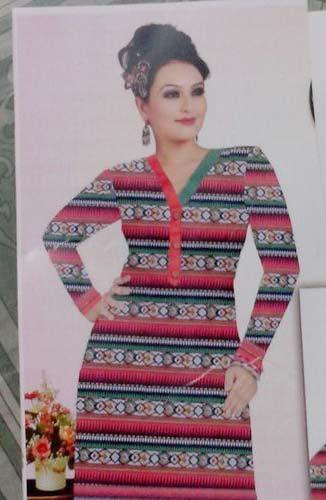 Ladies Full Sleeve Printed Cotton Kurti (PLK-01)