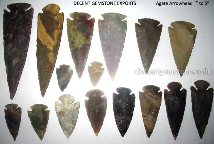 Plain Agate Stone Arrowheads