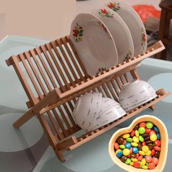 Teak Wood Folding Dish Rack