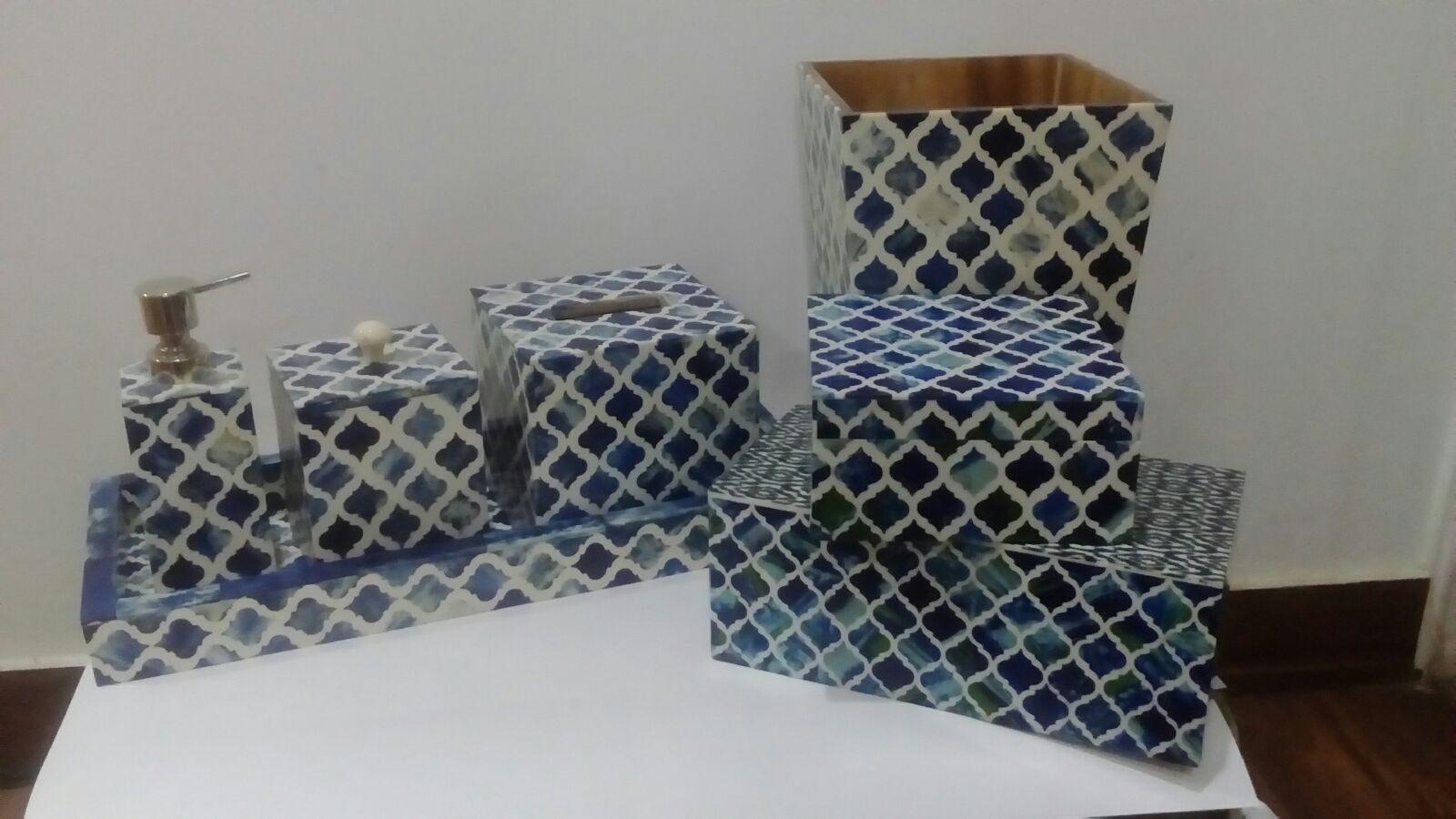 Bone crafted bathroom accessories set manufacturer in for Bathroom accessories set india
