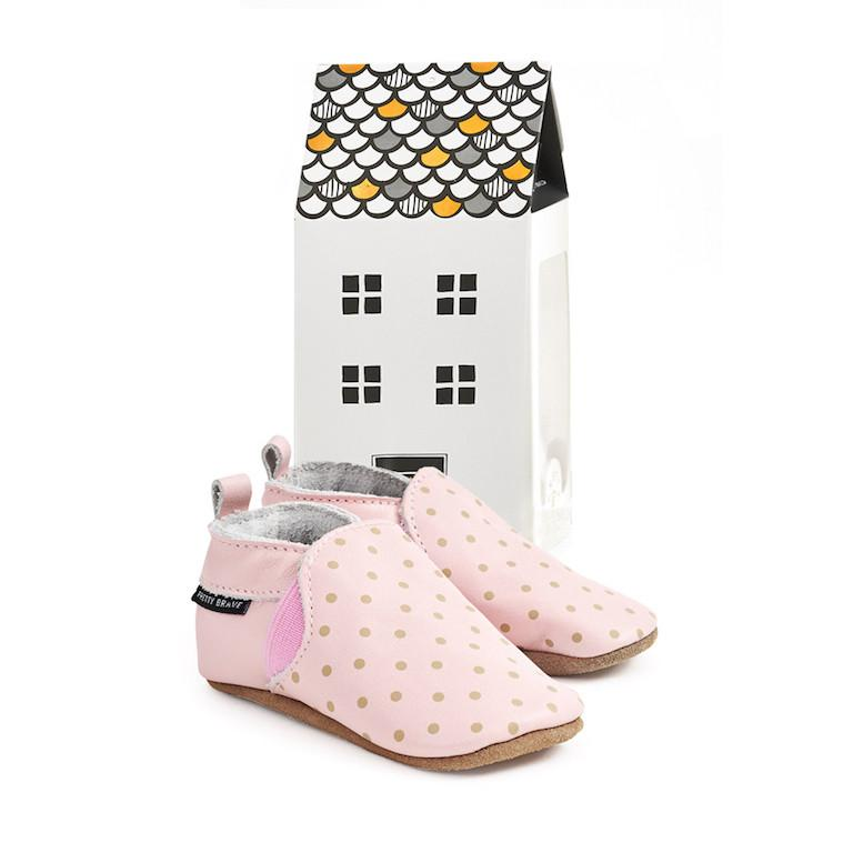 Pretty Brave Slip Ons Blush Leather Baby Shoes