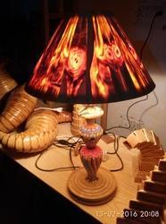 Wooden Madhubani Table Lamp