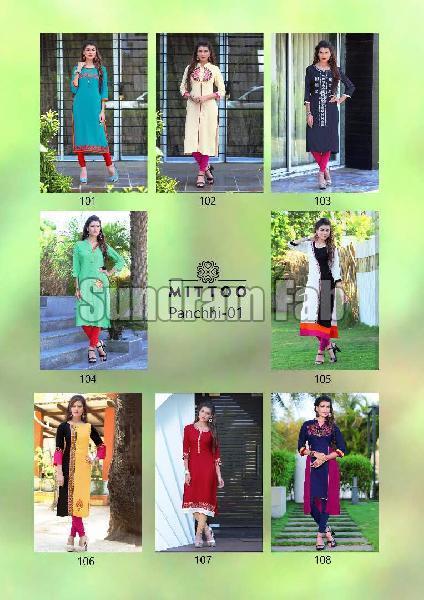 462bfce9ee Panchhi Vol-1 rayon embroidery kurti Manufacturer in Gujarat India ...