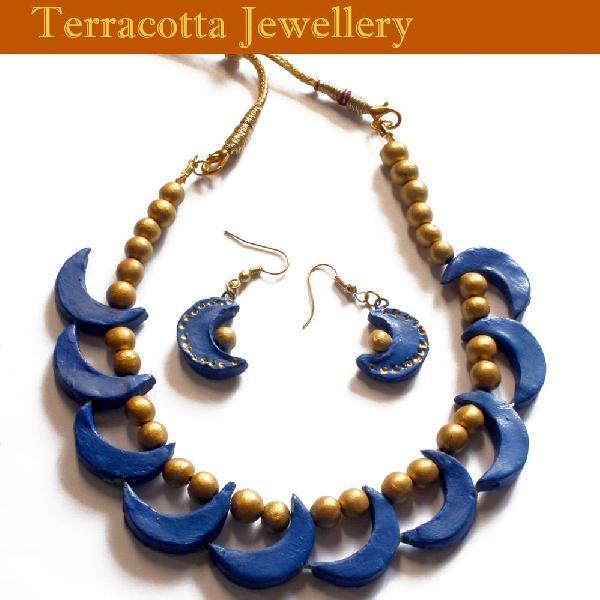 Terracotta Peacock Blue Jewellery with Jumkas (P01592)