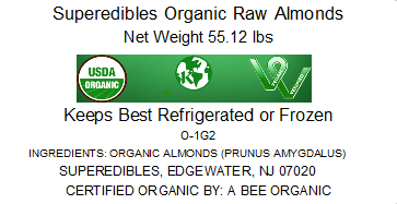 Superedibles Organic Raw Almonds (55.12 Lbs)