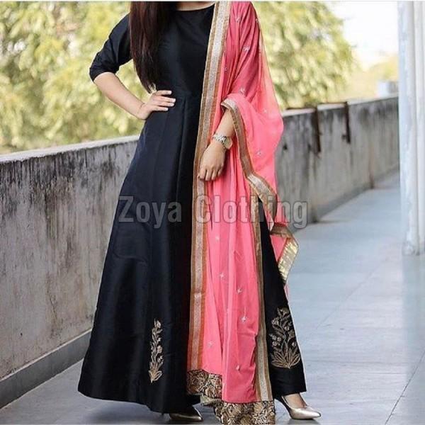 ce3ecb51f6 Taffeta Silk Machine Work Black Long Suits Manufacturer in Gujarat ...