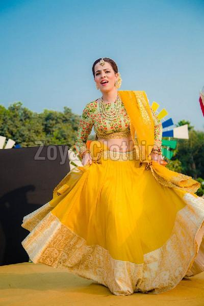 07490adaf0d Poly Silk Yellow Lehenga Choli Manufacturer in Gujarat India by Zoya ...