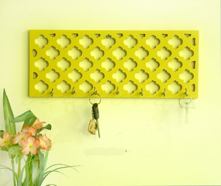 Yellow Wooden Jali key holder