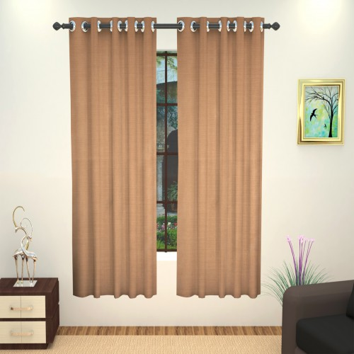 Lushomes Beige Art Silk Window Curtain with Polyester Lining