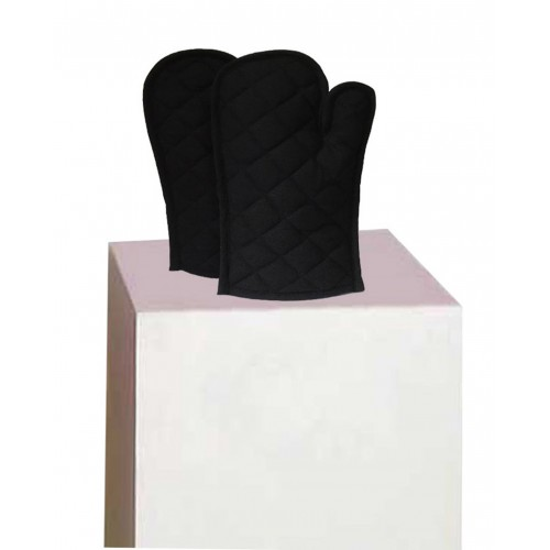 Lushomes Cotton Black Set of 2 Oven Mittens
