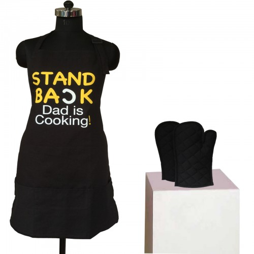 (1 Apron & 2 Oven Mittens) Lushomes Cotton Black Witty Dad Cooking Apron Set