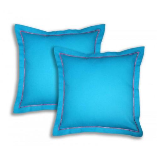 Lushomes Raspberry Satin Stitch Cotton Half Panama Bachelor Button Cushion Covers