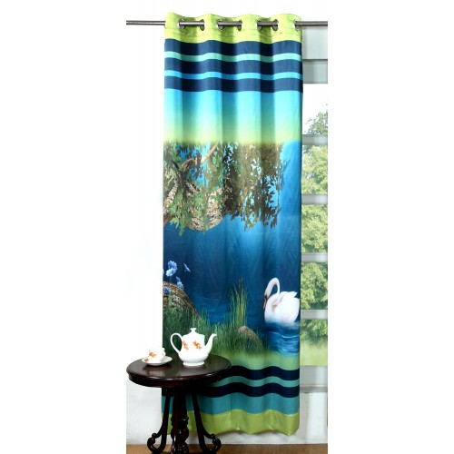 Lushomes Digitally Printed Dove Polyester Blackout Long Doors Curtains
