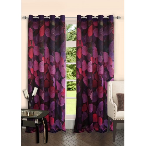 Lushomes Digitally Printed Flowerbed Polyester Blackout 6 Metal Eyelets Doors Curtains