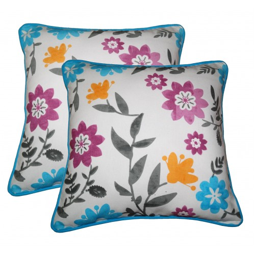 Lushomes Co-ordinating Cord Piping Flower Printed Cotton Cushion Covers
