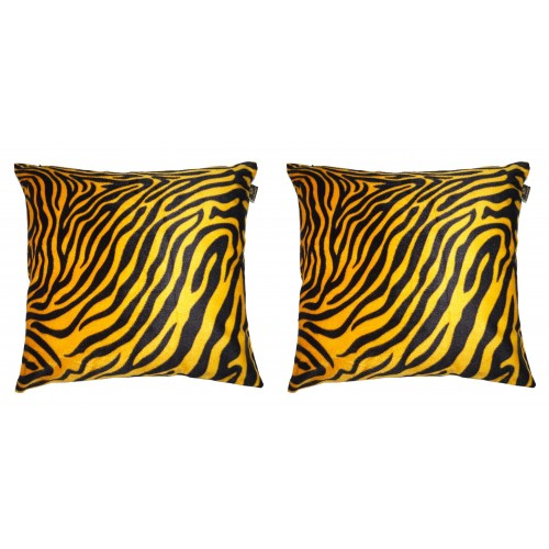 Lushomes Golden Yellow Zebra Skin Printed Cushion Covers