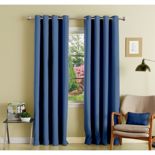 Lushomes 8 Metal Eyelets Door Plain Blue Polyester Blackout Curtains