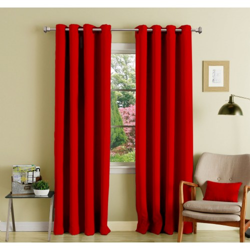 Lushomes 8 Metal Eyelets Door Plain Red Polyester Blackout Curtains